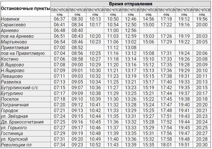Расписание автобуса Арнеево